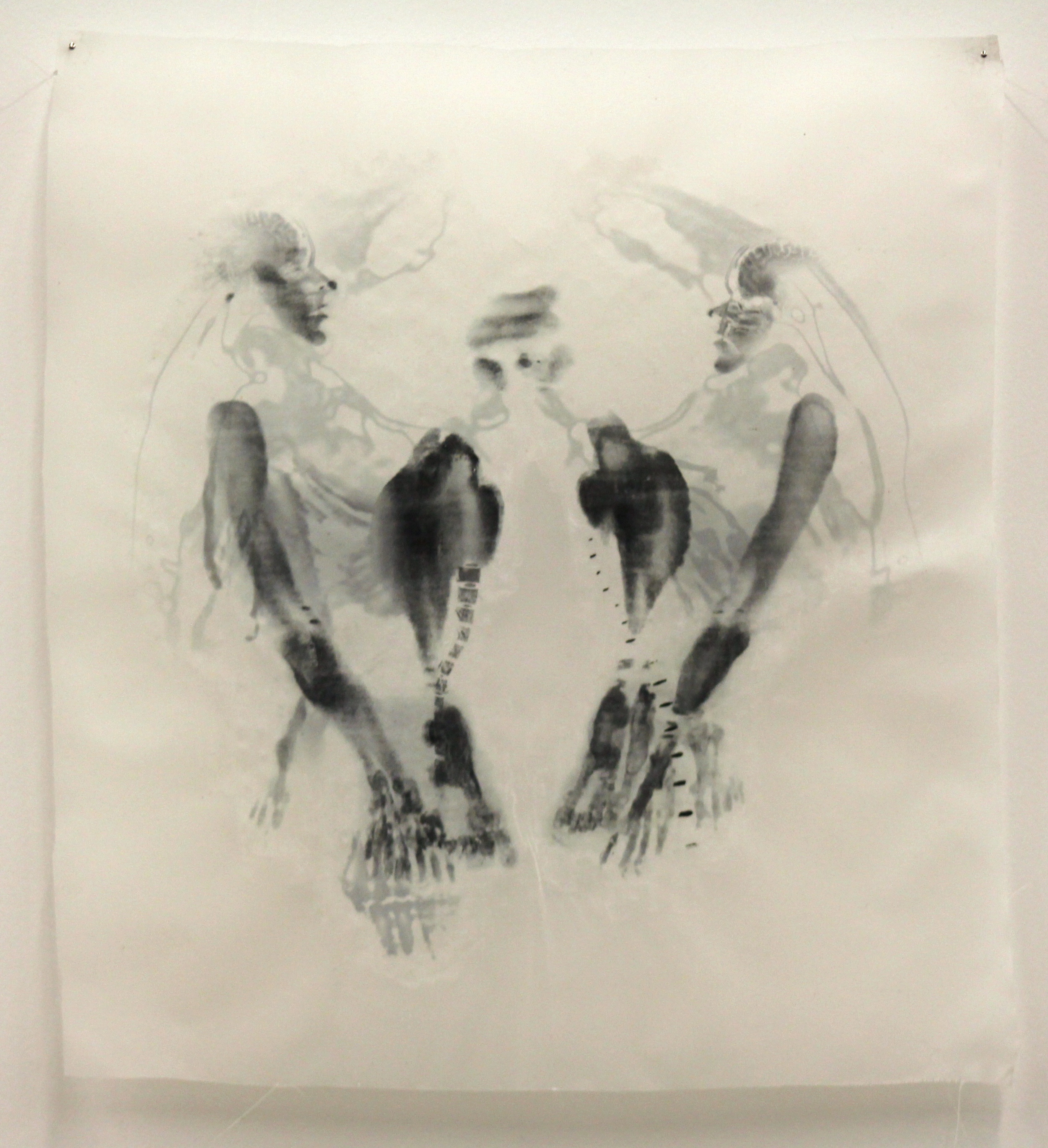 """Dualism VI,"" Toner transfer on waxed silk, 11"" x 10,"" 2015"