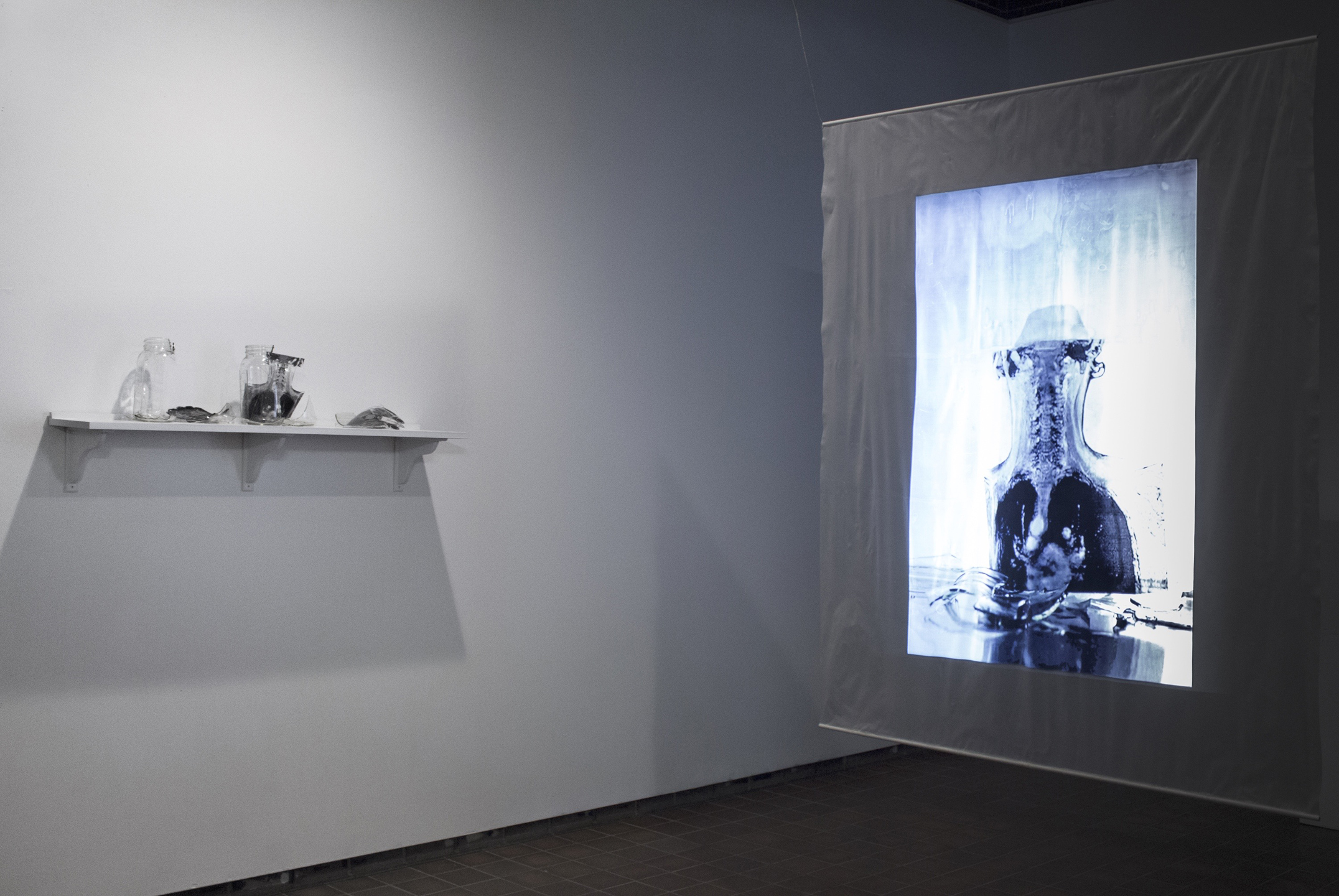 """Relapse/Remission,"" Stop motion projection (7:30), glass, ice, and film, 2015"