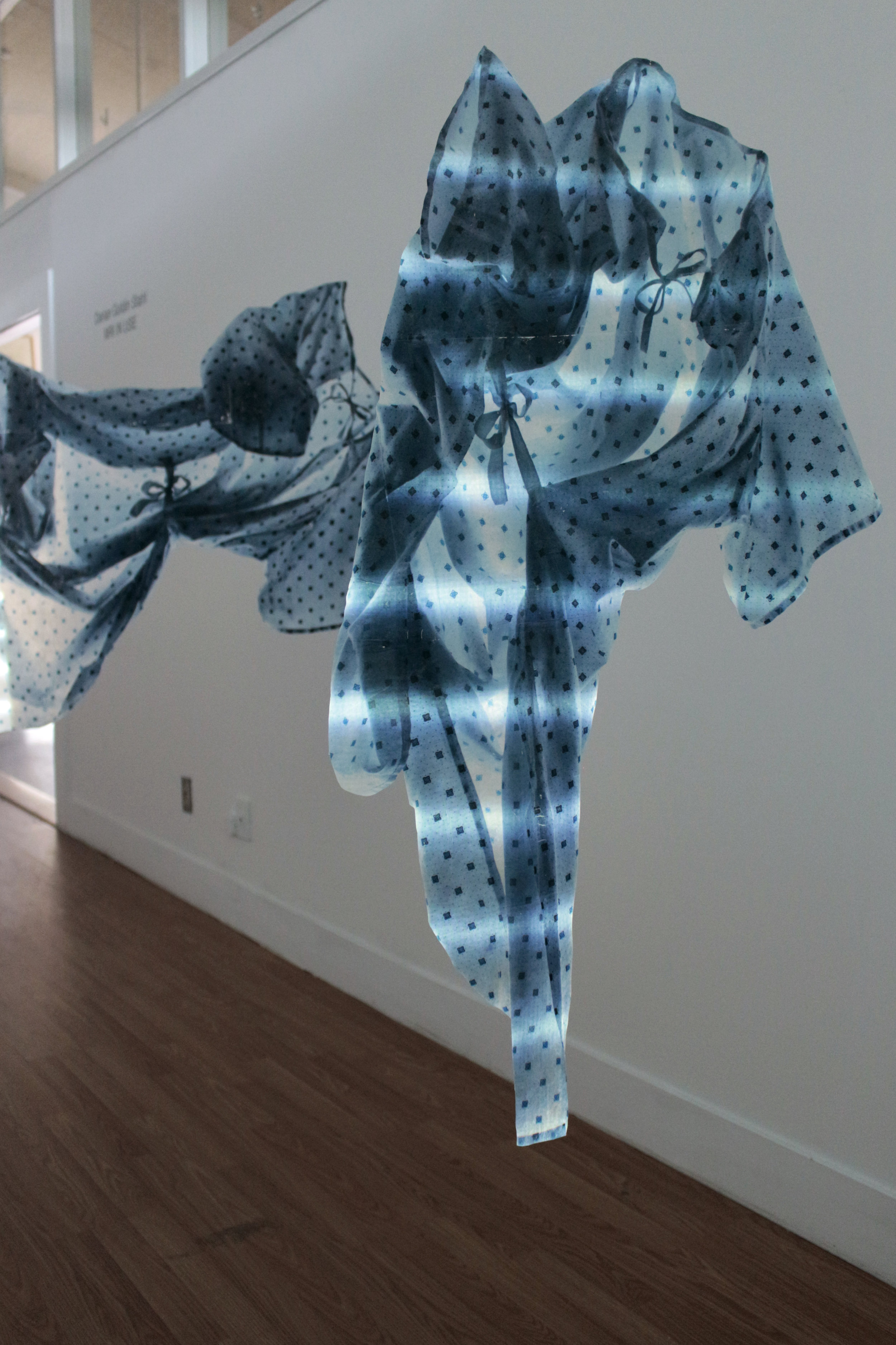 """""""MRI IN USE"""" Installation, Encaustic transfer on silk and projection, 45"""" x 30"""" each, 2015. Alberta Printmakers Main Gallery"""