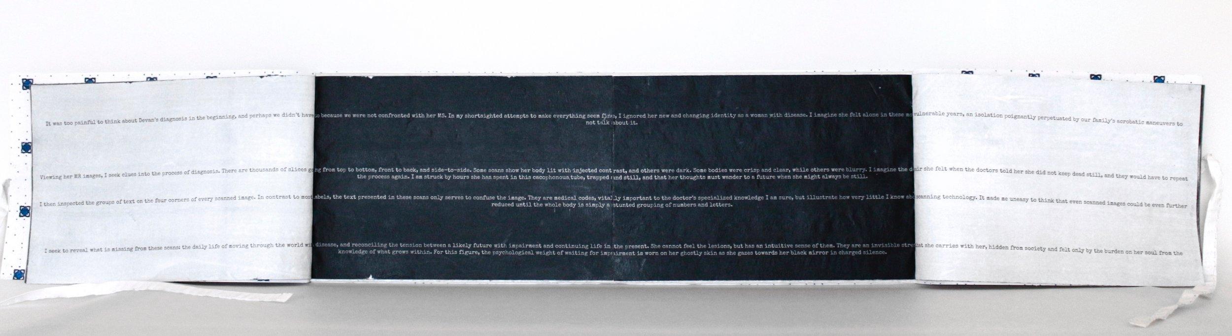 """EncodingDecoding"" Artist Book detail, Encaustic transfer on silk, 6"" x 19,"" 2016"