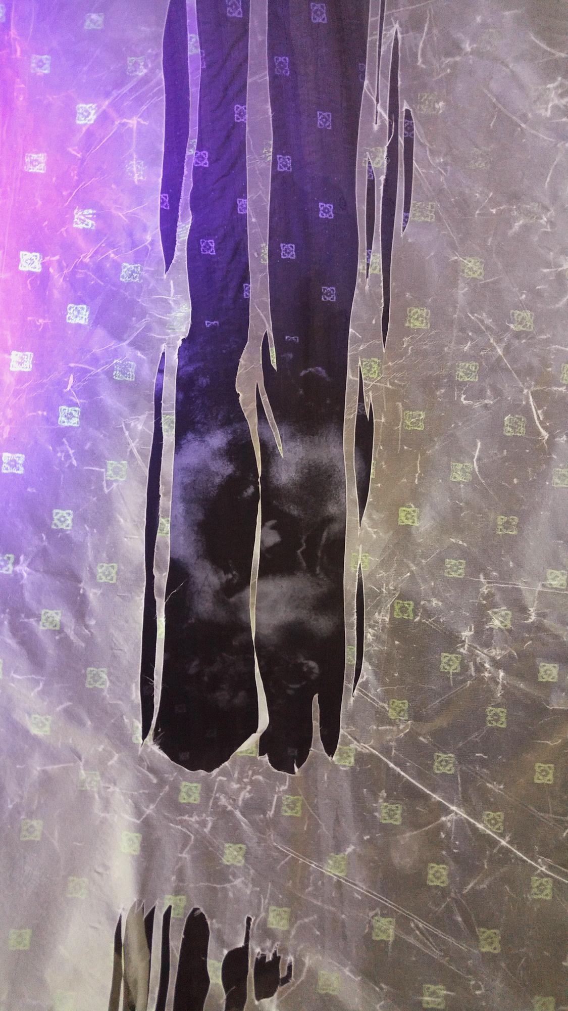 """""""""""Healing House III,"""" (Detail) Beeswax, silk, silkscreen, black light, 60"""" x 75"""" x 25,"""" 2018"""
