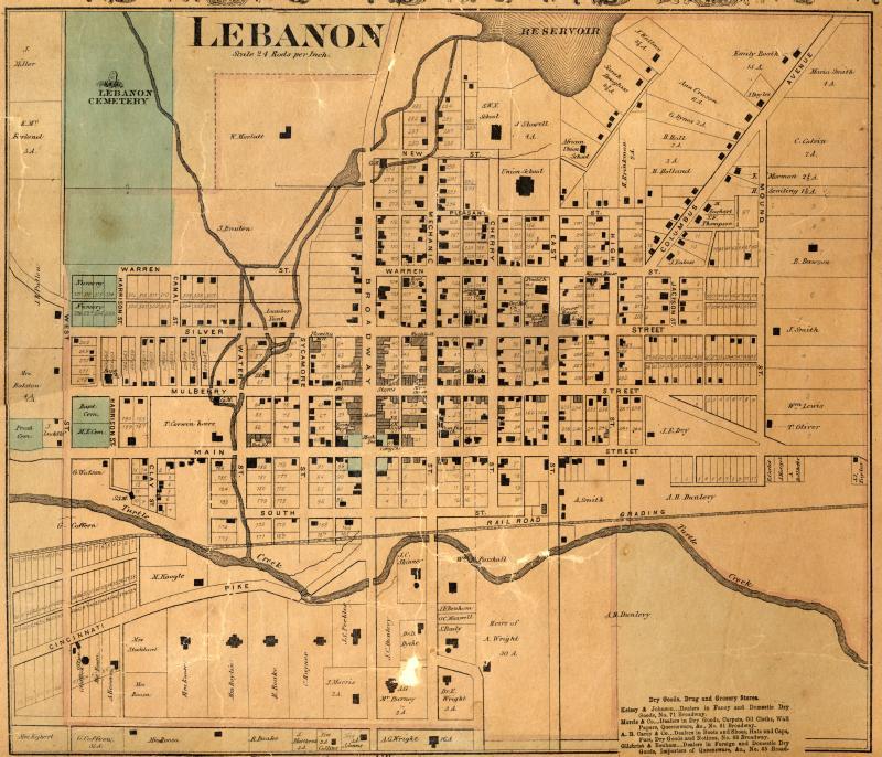 Map of Lebanon, Ohio