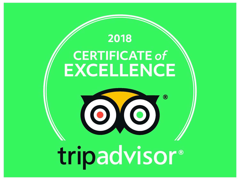 TripAdvisor Certificate of Excellent for 2018