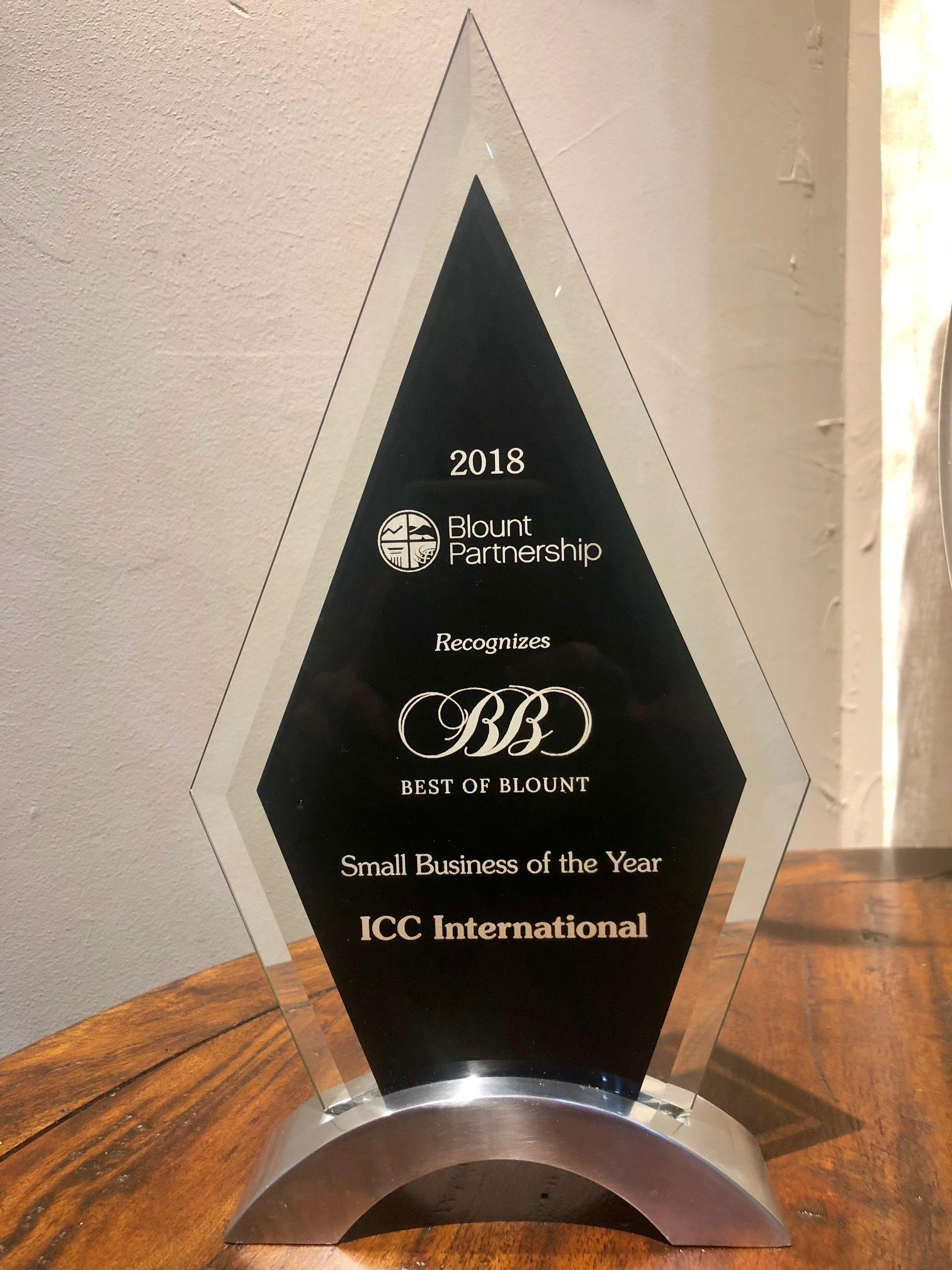 ICc International Best of Blount Small Business of the year award