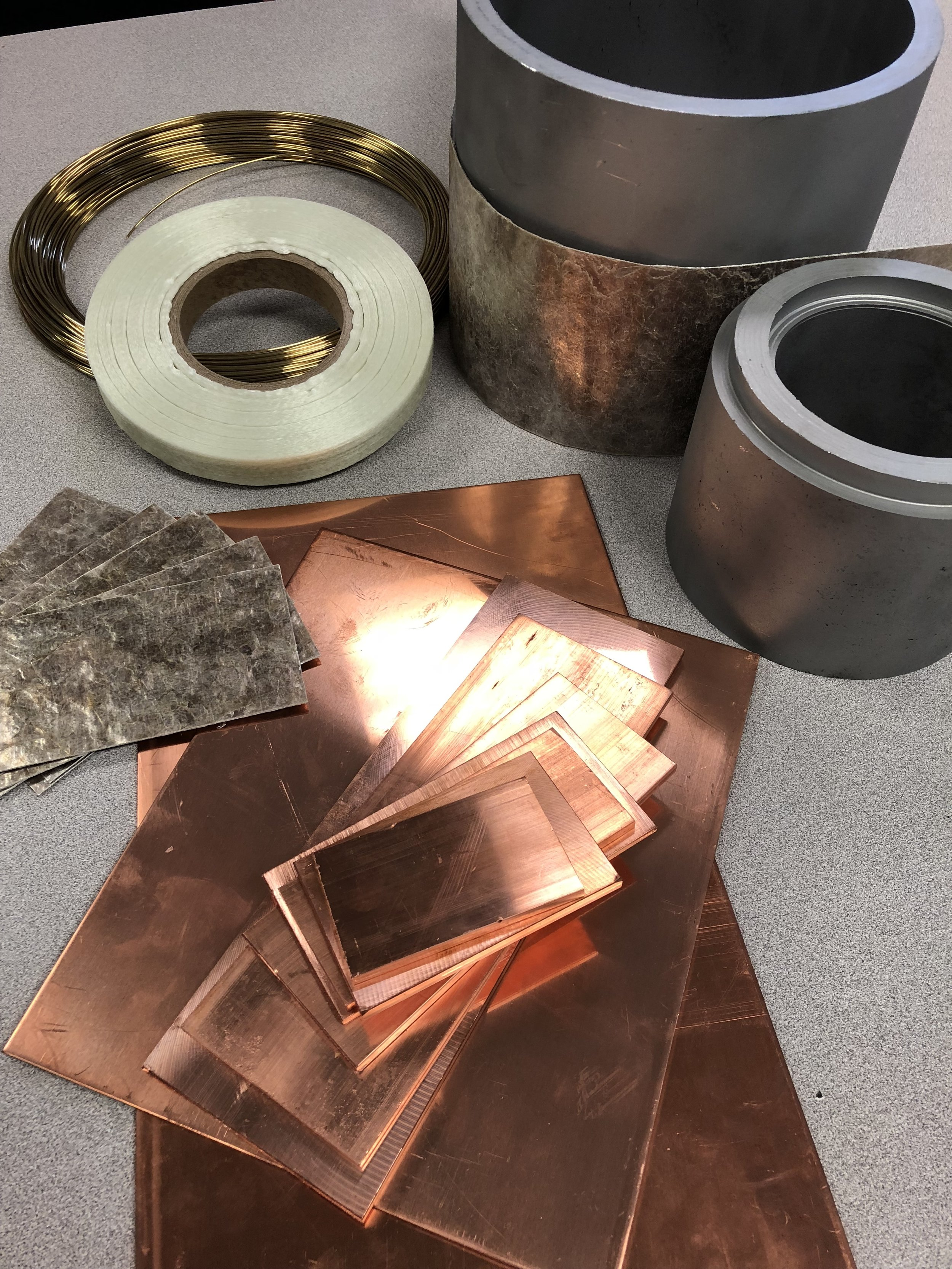 Commutator materials copper steel mica res-i-glass tape