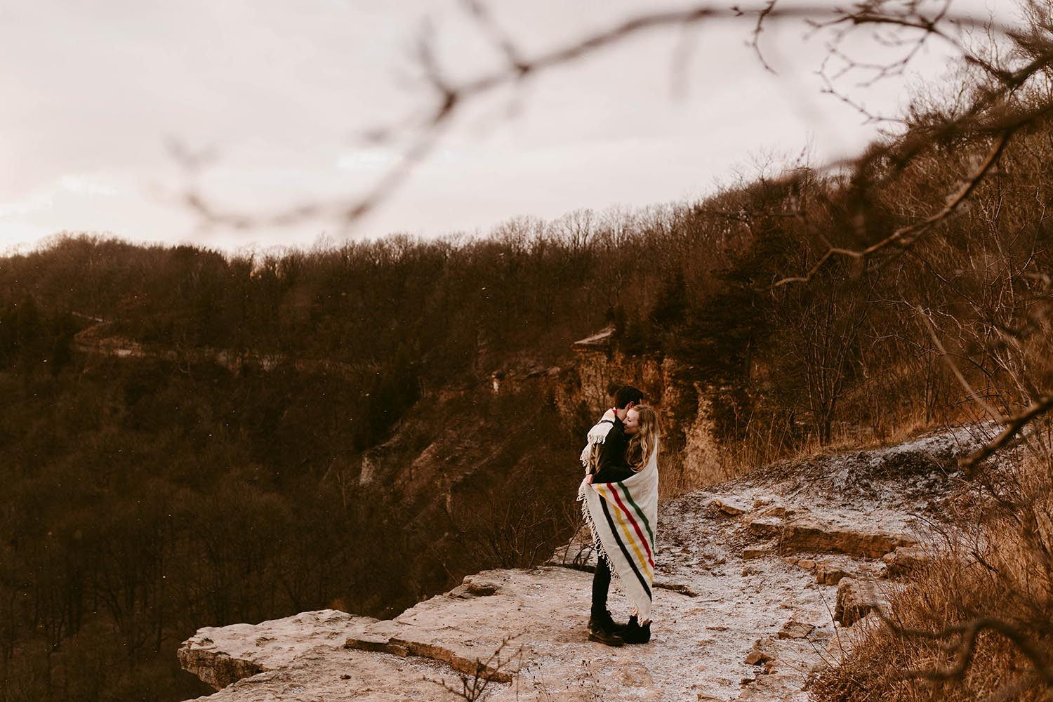 winter engagement photos dundas peak copperred photography