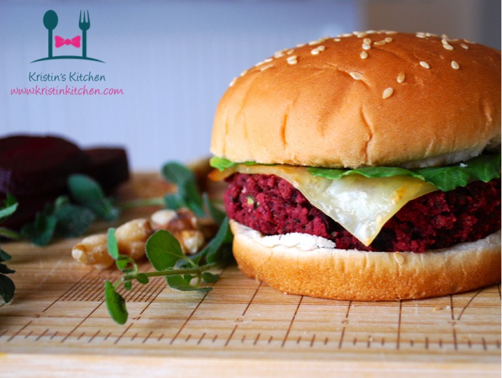 Herbed Beet, White Bean and Walnut Burgers with Spicy Romesco Sauce