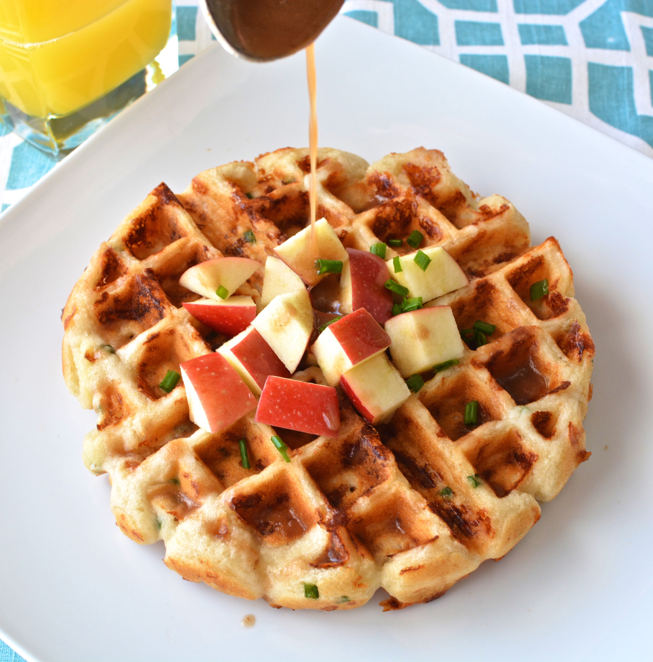 Cheddar Waffles with Maple Apple Butter Syrup