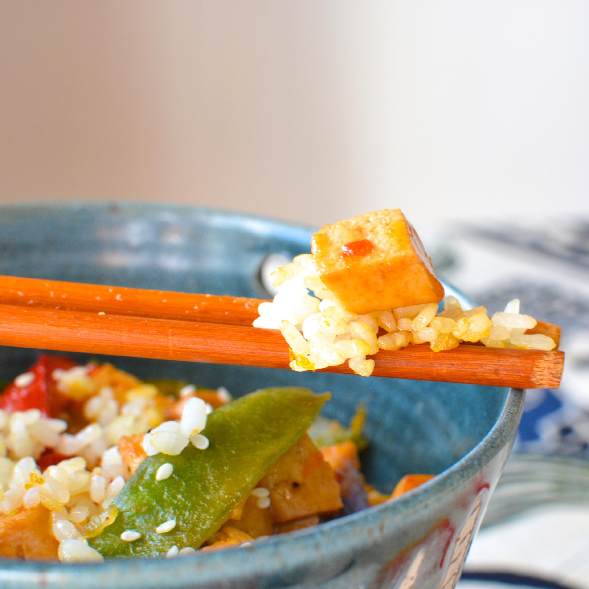 Orange Tofu and Veggies with Crispy Sesame Orange Sushi Rice