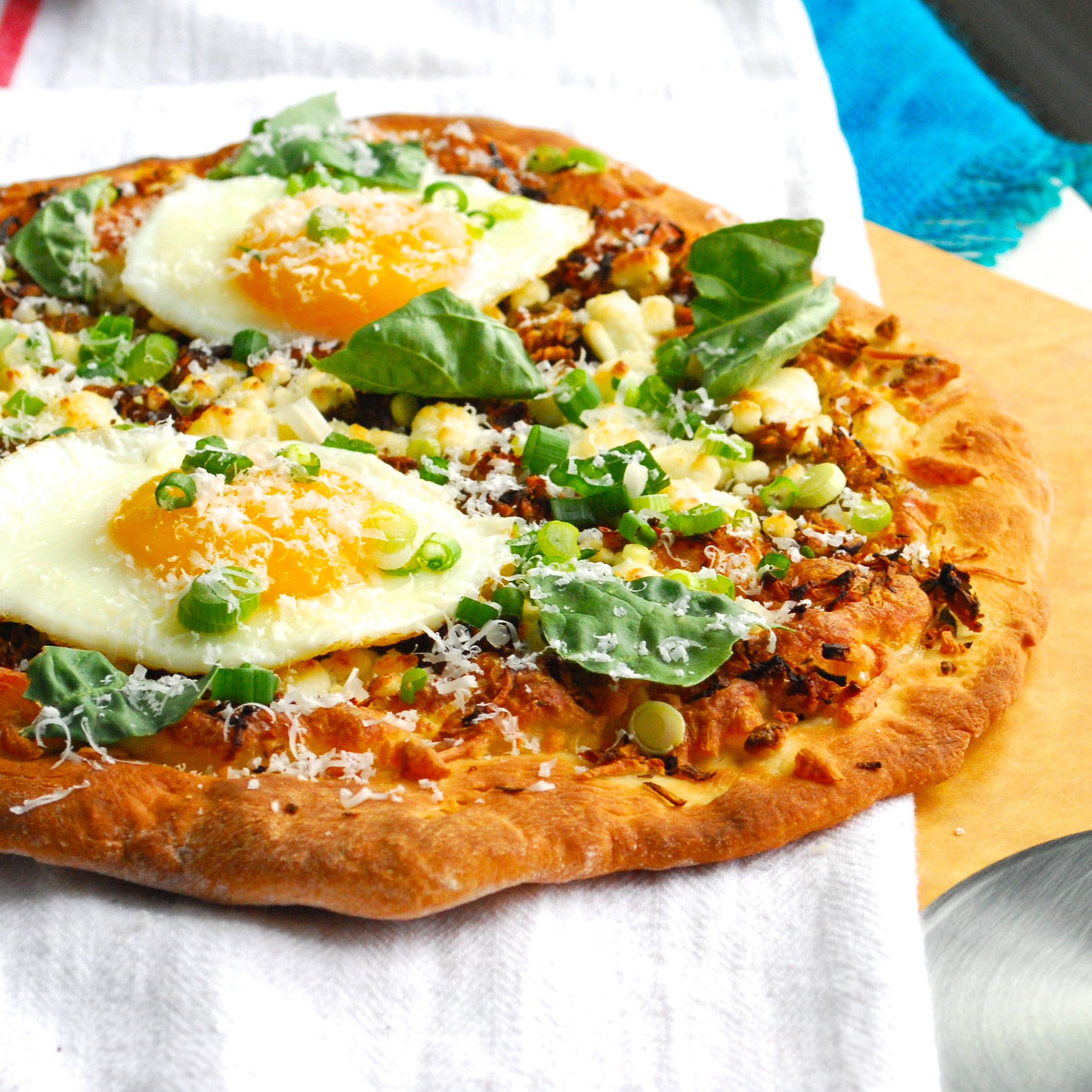 Crispy Shredded Sunchoke Pizza with Goat Cheese and Fried Eggs