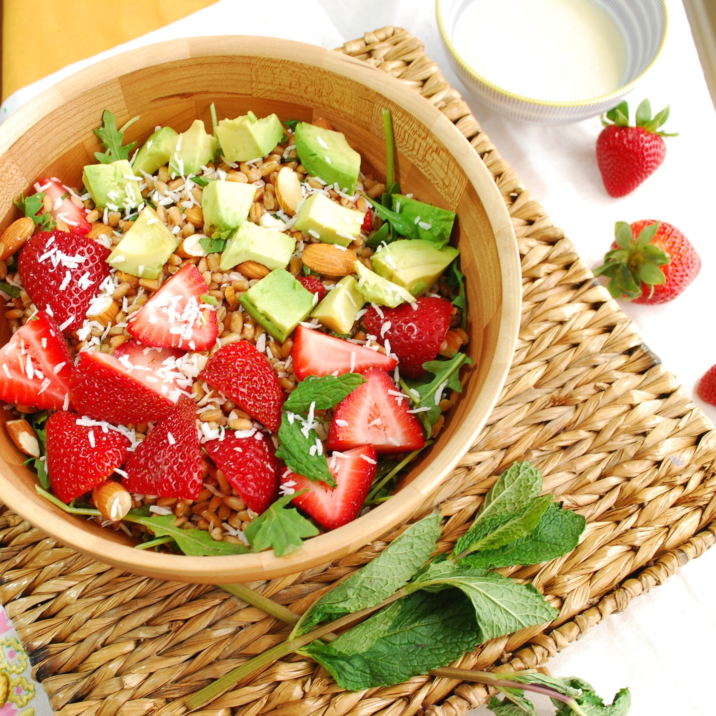 Farro with Strawberries, Avocado and Orange Coconut Dressing