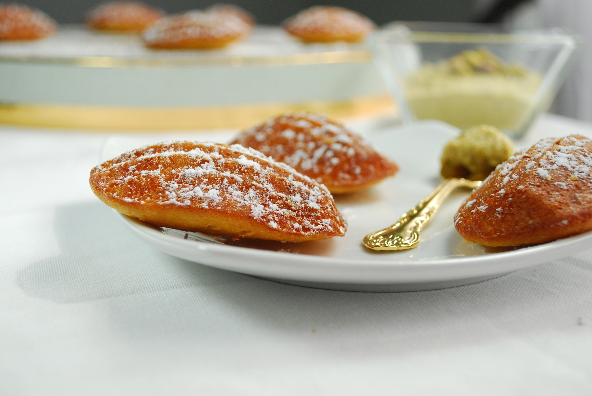 Orange Blossom Water Madeleines with Honey Pistachio Dipping Sauce