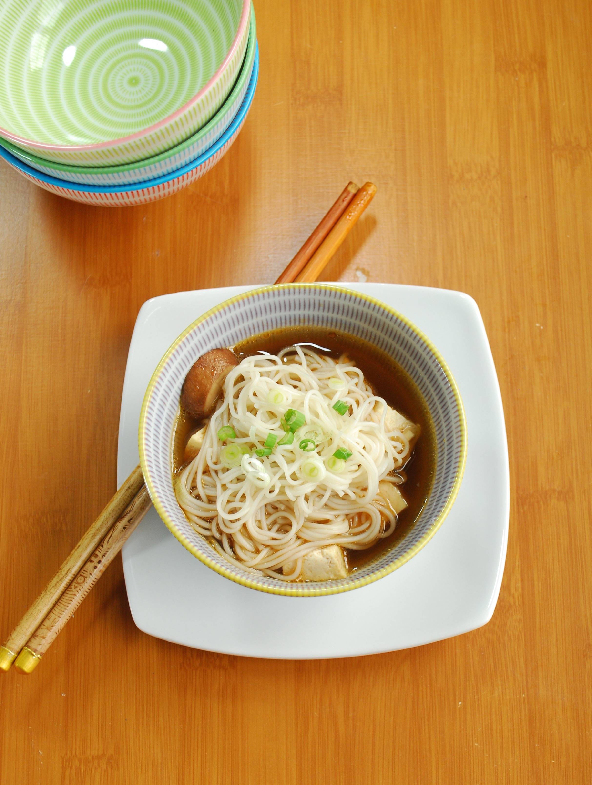 Soba Noodles and Tofu in Green Tea Ginger Broth