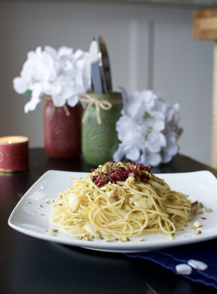Browned Butter Brie Pasta with Herbed Cranberry Orange Sauce