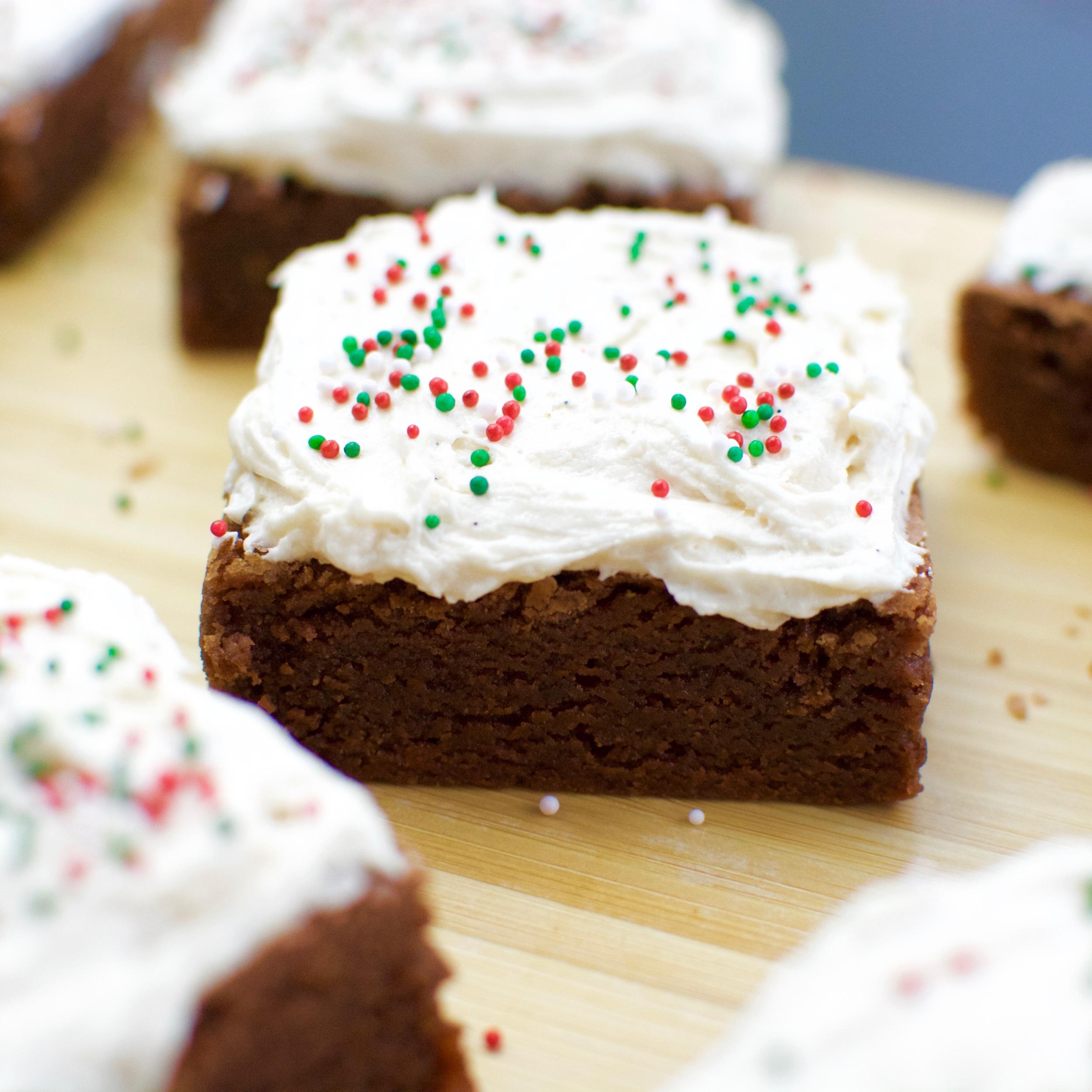 Milk Chocolate Cardamom Brownies with Vanilla Bean Frosting