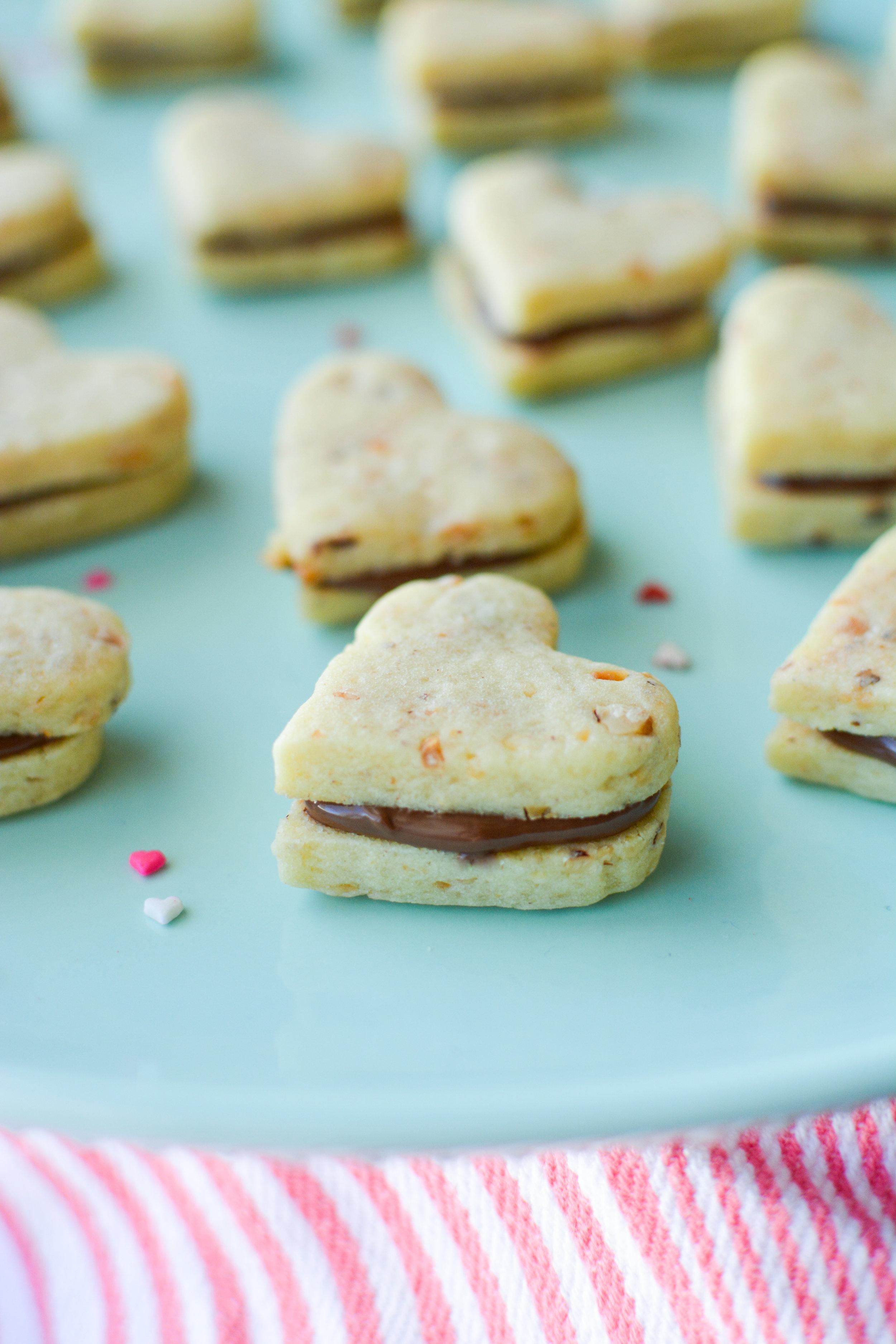 Nutella Filled Hazelnut Cookie Sandwiches - Kristin's Kitchen
