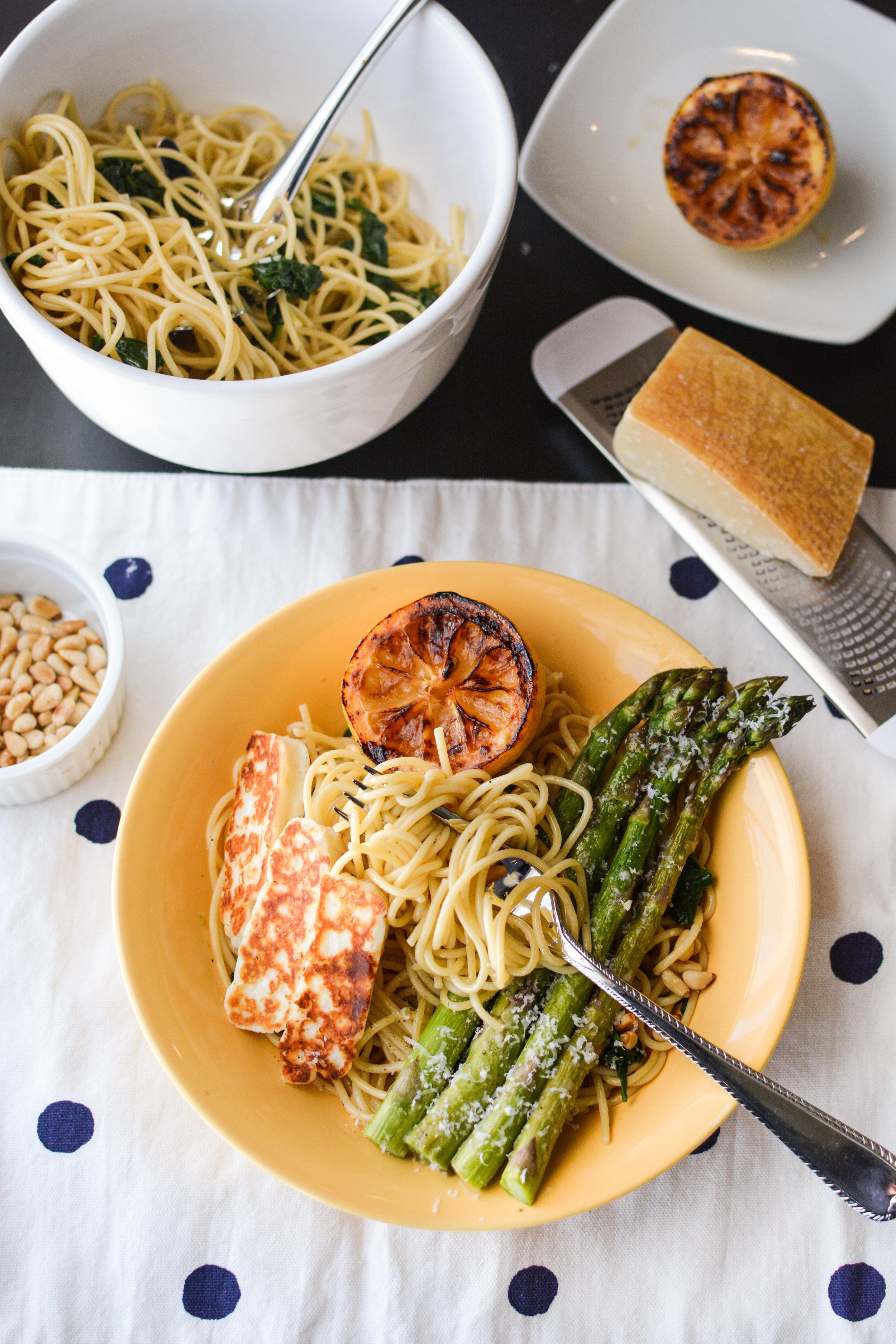 Caramelized Lemon Pasta with Asparagus and Halloumi