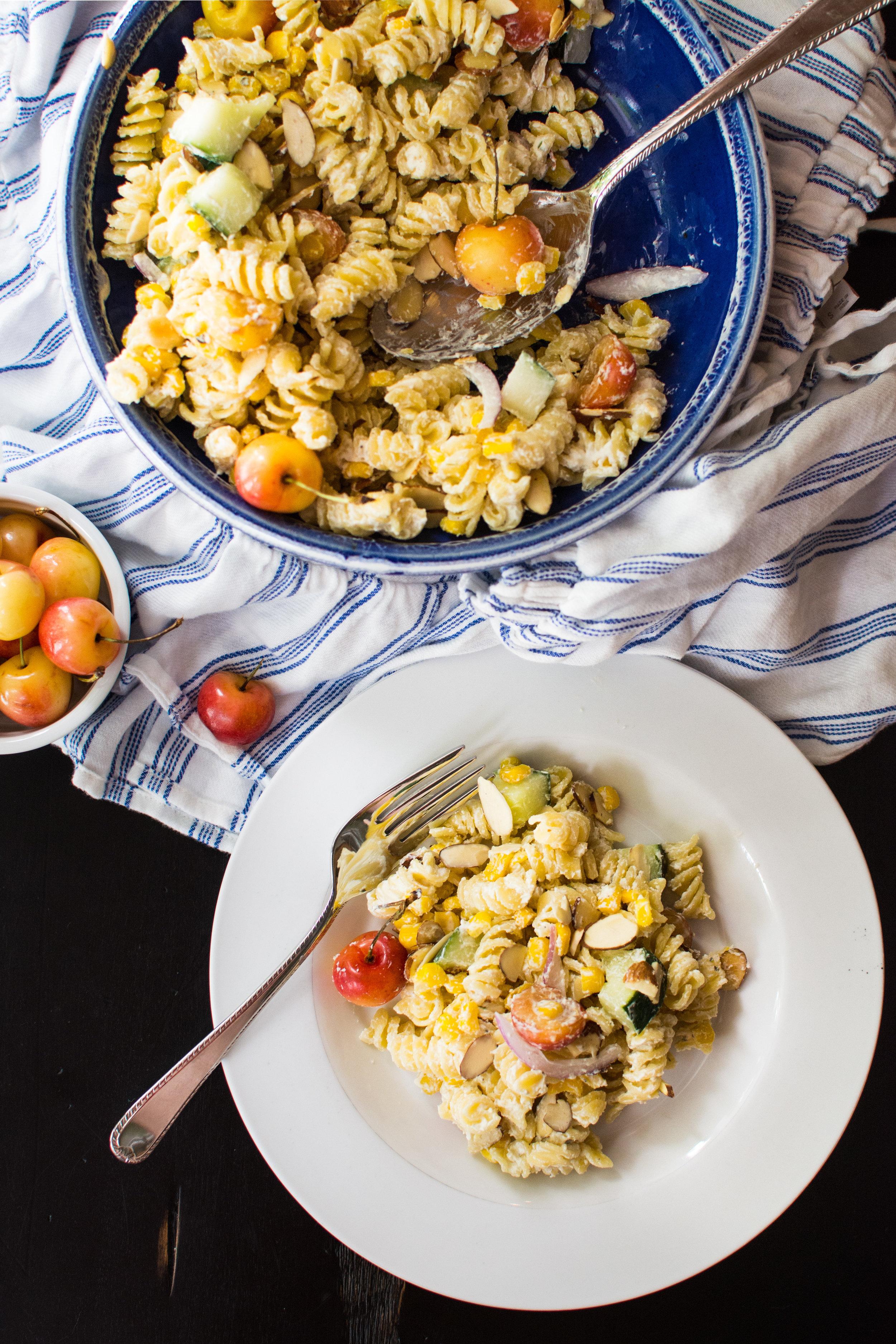Boursin Pasta Salad with Cherries, Corn and Cucumber