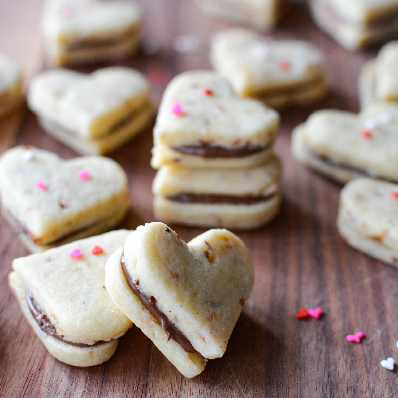 Nutella Filled Hazelnut Cookie Sandwiches