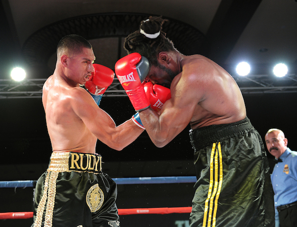 Top middleweight prospect Rudy Puga, left, improved to 5-0, 5 KOs