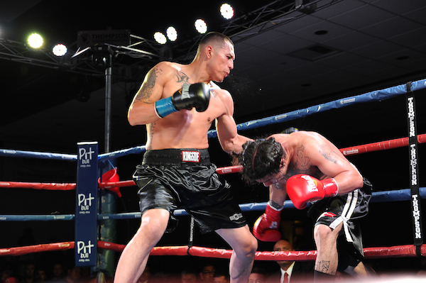 Miguel Trejo, left, earned his first professional win against Jonathan Aceves