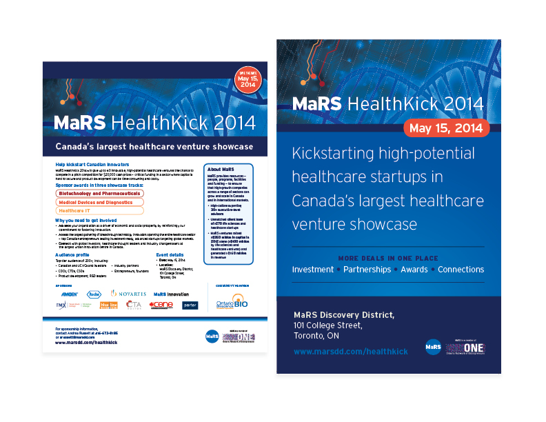 "MaRS Healthkick promo assets  8.5x11"" flyer + 24x36"" poster — design/graphics/layout"