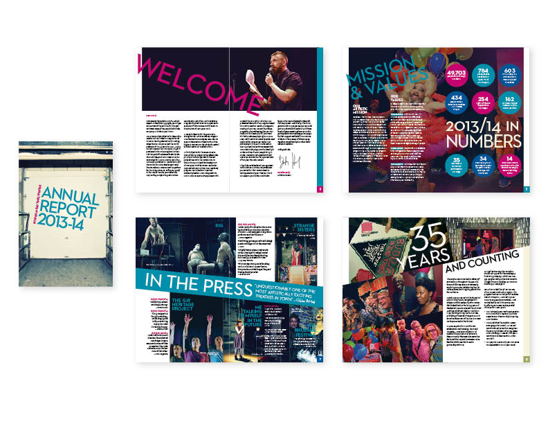 "Buddies in Bad Times 2013-14 Annual Report   24 pages, 6""x9"" saddle-stitched [cover + selected spreads}  — design/layout   (view the entire publication here)"