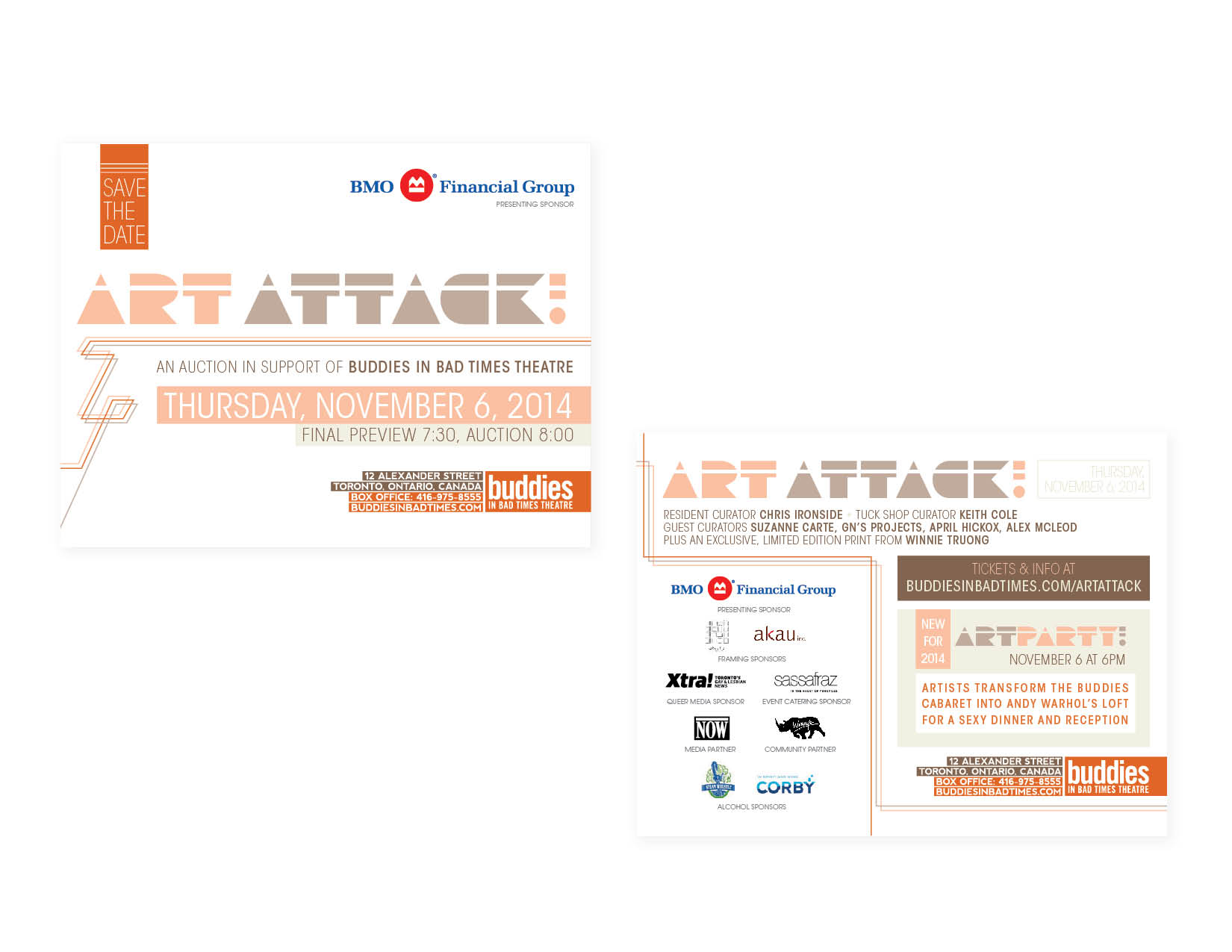 "ArtAttack! save-the-date promo   7x5"" postcard [front + reverse] — art direction/layout/branding"