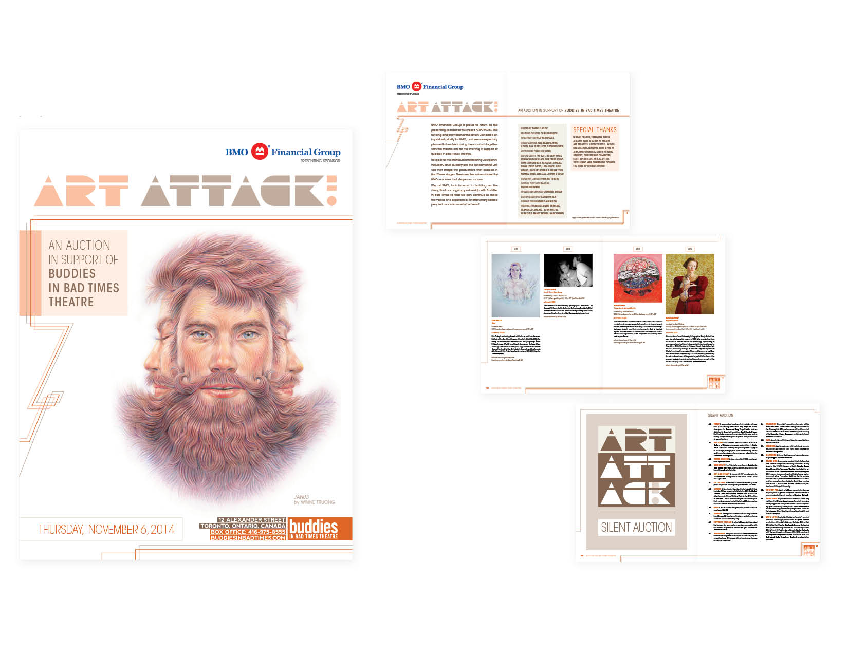"ArtAttack! auction catalogue (2014)   8.5"" x 11"" saddle-stitched book, 36 pages + cover  [cover and selected interior spreads] —art direction/graphics/branding/layout      (view the entire publication here)"