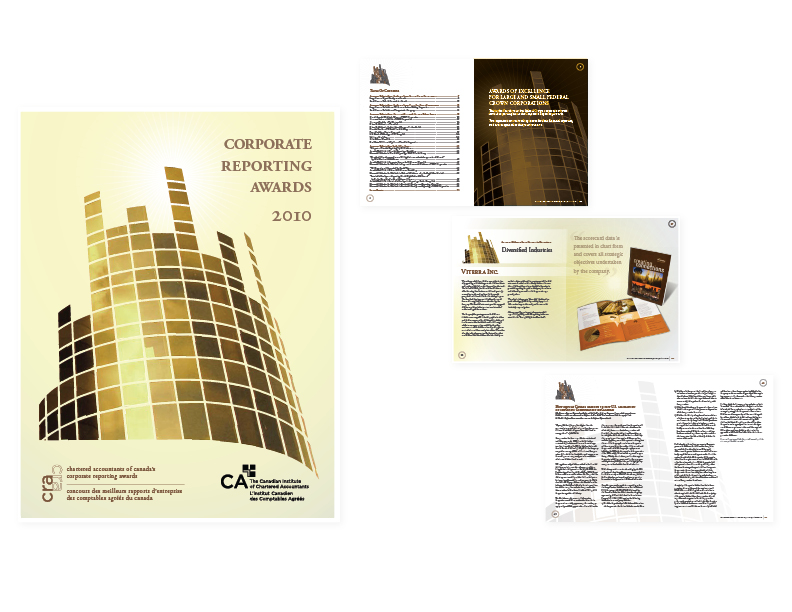 "2010 Corporate Reporting Awards banquet programme  8.5"" x 11"" perfect-bound book, 72 pages + cover  [cover and select interior spreads] — art direction/graphics/layout"