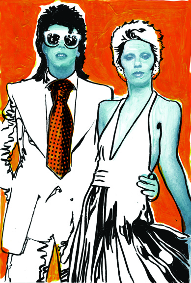 David and Angela Bowie  hand-rendered/digital photocomposite