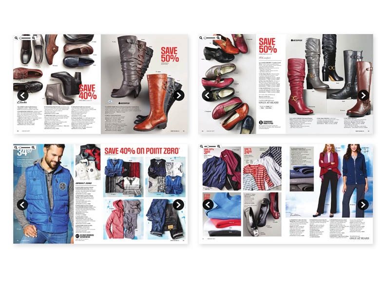 "Sears Canada 'Great Buys' catalogue  (w. Fuel Advertising) 96 page 8x8"", saddle-stitched booklet (selected spreads) — layout, off-fig photo styling/linear drawings, asst. art-direction   (view the entire document here)"