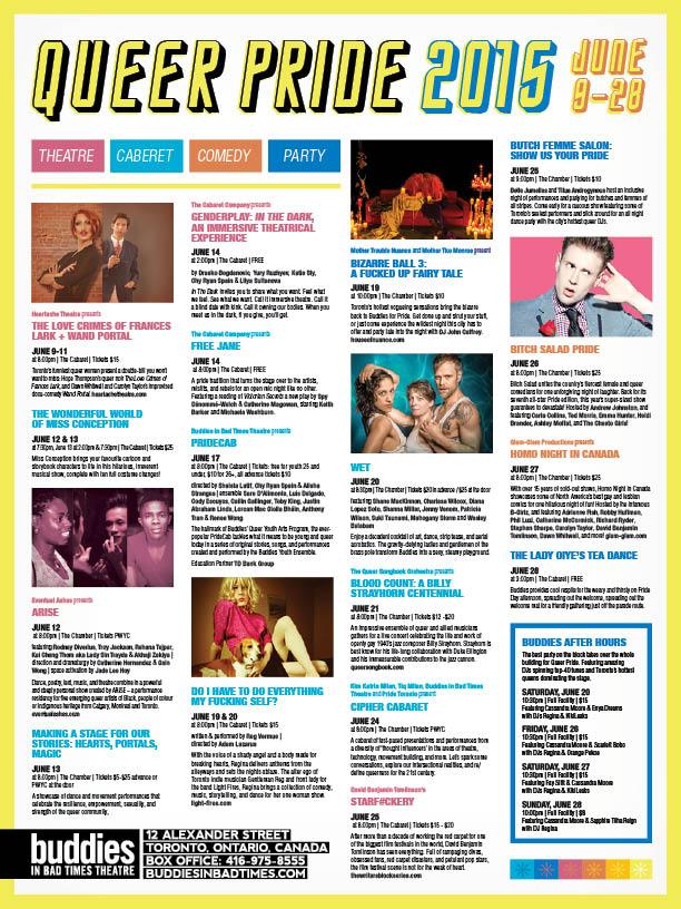 Buddies in Bad Times 2015 Pride guide calendar