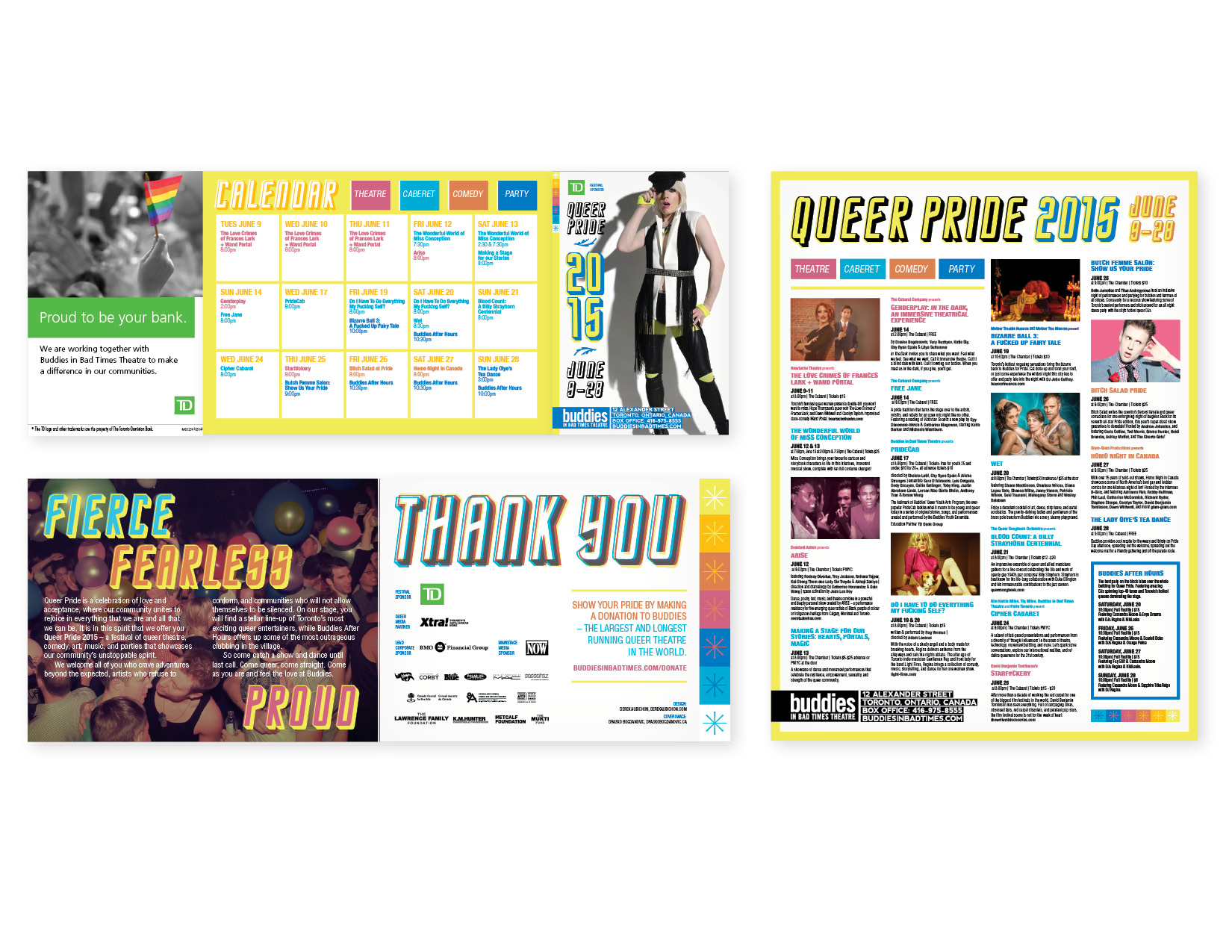 """Buddies in Bad Times 2015 Pride Guide  8-panel, 4"""" x 6"""" folds out to12"""" x 16"""" poster [panels w. cover on right + poster) — layout, graphics, typography"""