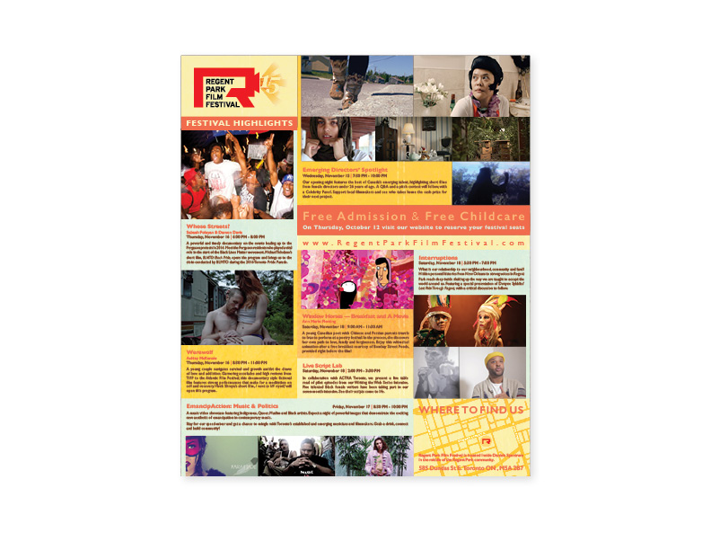 15th Annual Regent Park Film Festival flyer (interior)
