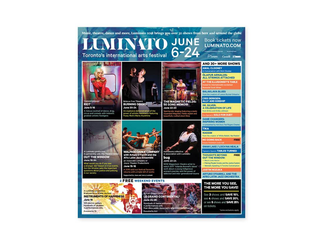 Luminato 2018 — Now Magazine — Full page ad