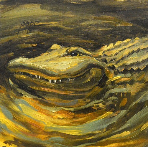 "Fresh paint! ""Mud,"" oil on panel. 4x4"" 🐊 This dude is on display with @mobileartscouncil for the month. Thanks to all who came out for Art Walk last night! 🥳 #oilpainting #allaprima #alligator #gator #gulfshores #30a #somobile #contemporaryart #impressionism #catpopeart #mgraham #oil #winsornewton #rosemarybrushes #neworleans #alabamaartist #floridaartist"
