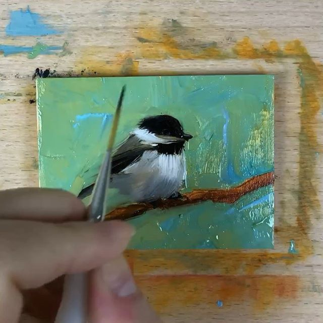 Blob of the day, a mini chickadee in my favorite minty hue. Might Minis kicks off next week with @stewartheathgallery and it's almost full! 🥰 . From Florida's coast to the US Capitol, it is so good to return home from almost two weeks of travel. I'm excited to get back into a routine and put brush to canvas all summer. ✈️🏠🎉 . #oilpainting #allaprima #miniatureart #impressionism #contemporaryart #contemporarypainting #whatwomencreate #justpaint #putabirdonit #audubon #songbird #inmybackyard #alabamaartist #floridaartist #30a #doitfortheprocess #minipainting