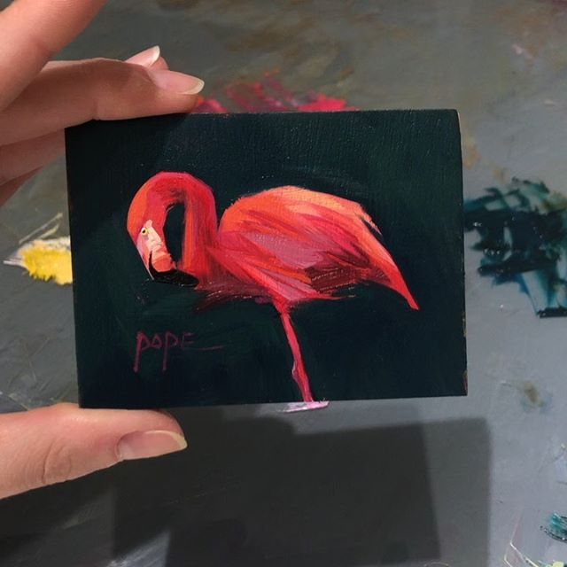 Blob of the day. Diving deep into contrast, I'm loving this fierce color combo. . . #oilpainting #allaprima #miniatureart #impressionism #contemporaryart #contemporarypainting #whatwomencreate #justpaint #putabirdonit #audubon #songbird #inmybackyard #alabamaartist #floridaartist #30a #flamingo #feathers #doitfortheprocess #minipainting