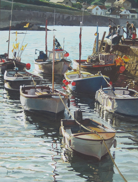 'Coverack Harbour, Cornwall' Acrylic