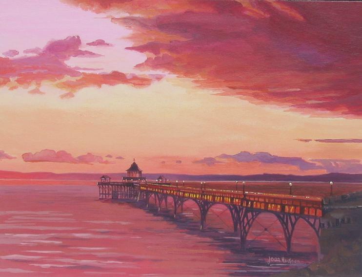 Copper Sunset, Clevedon Pier Acrylic