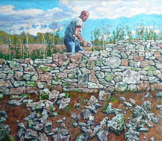 Dry Stone Walling 2016 oil on linen 106.5 x 122 cm