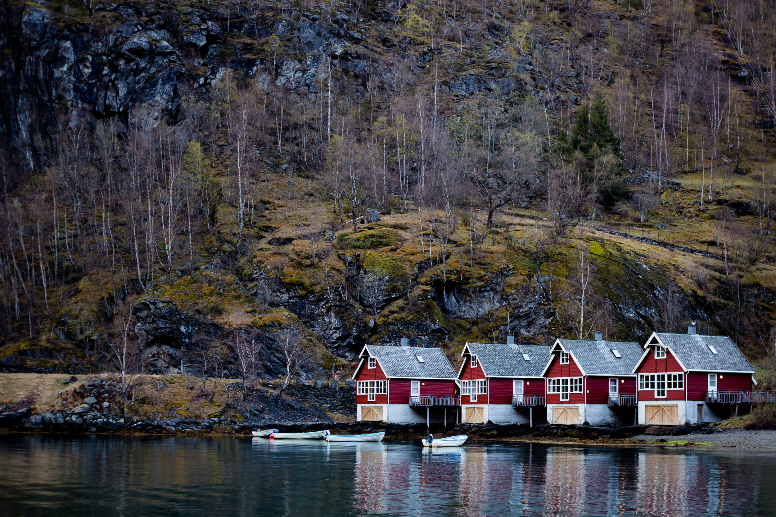 Houses along the coast in Flam