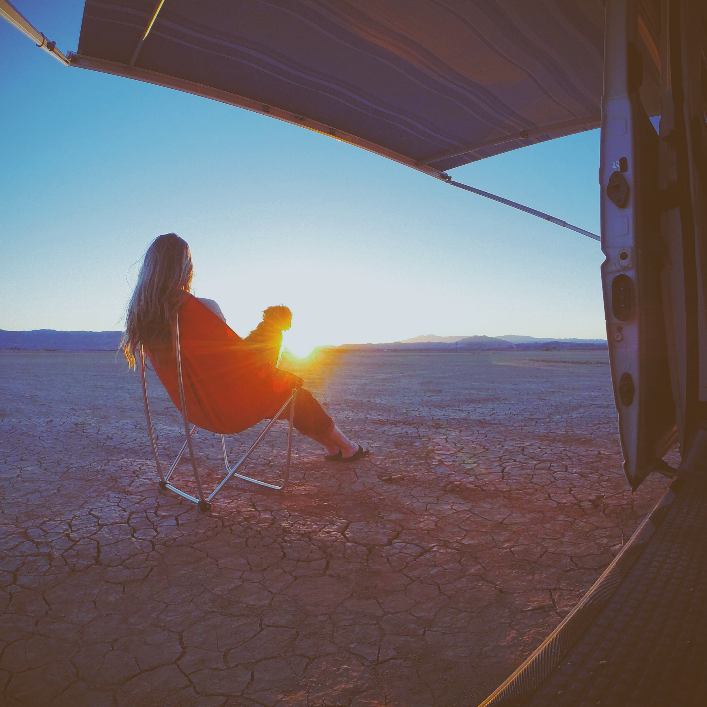 Watching the sunset with Max in the desert