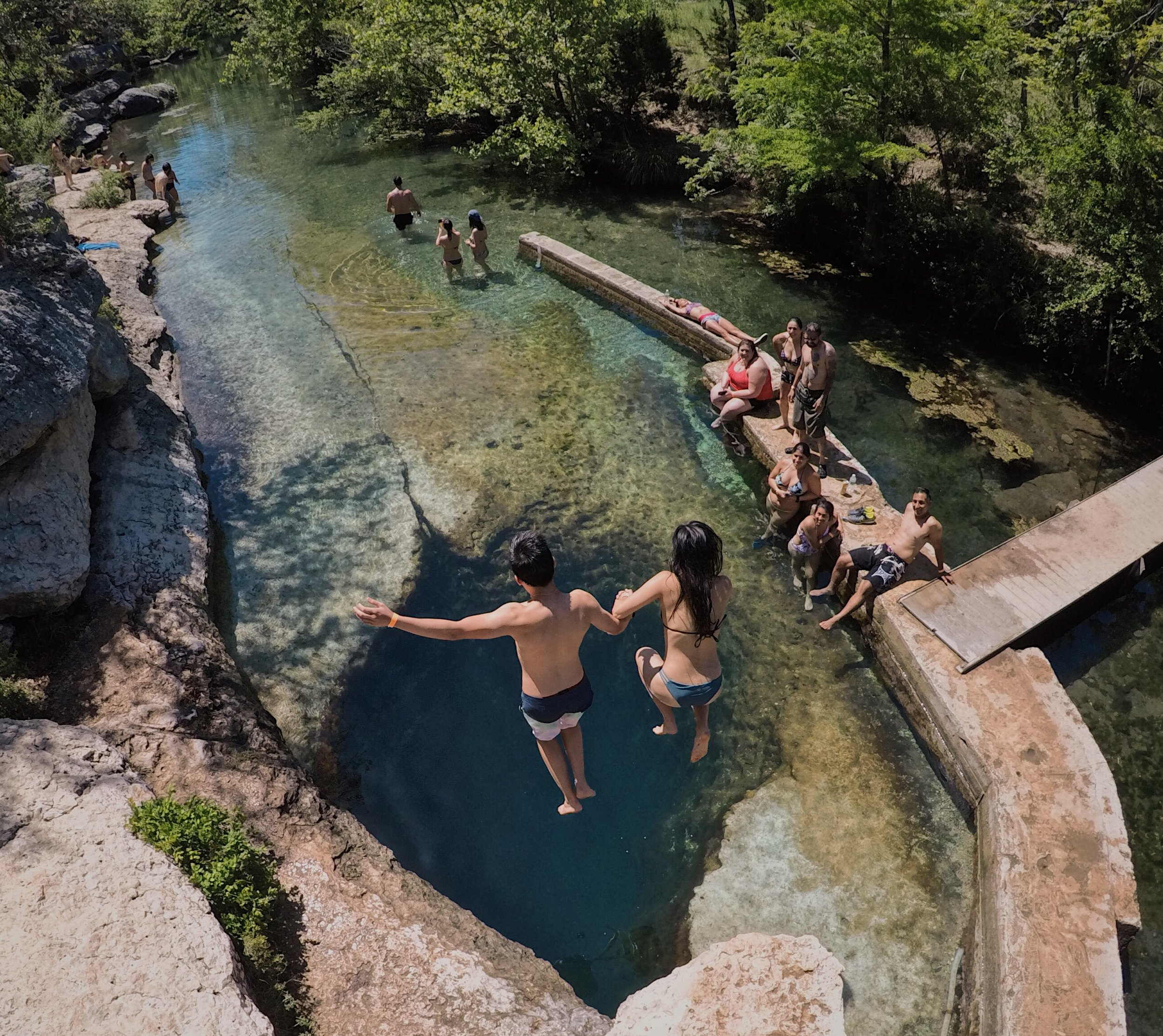 A couple jump into Jacob's Well