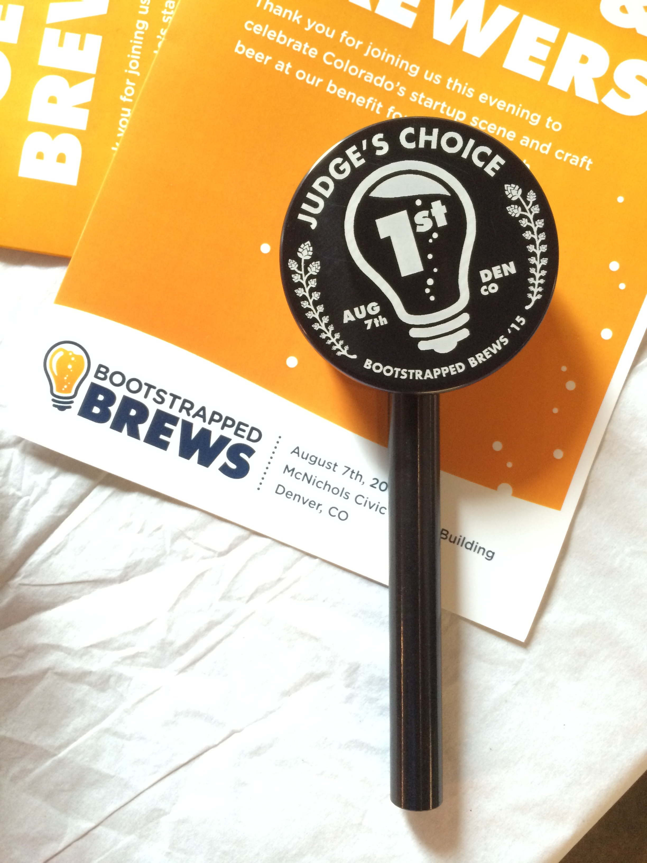 We worked with Bootstrapped Brews to create customized Keg Cap Tap handles that were given as trophies to the winners at the their brewing competition.