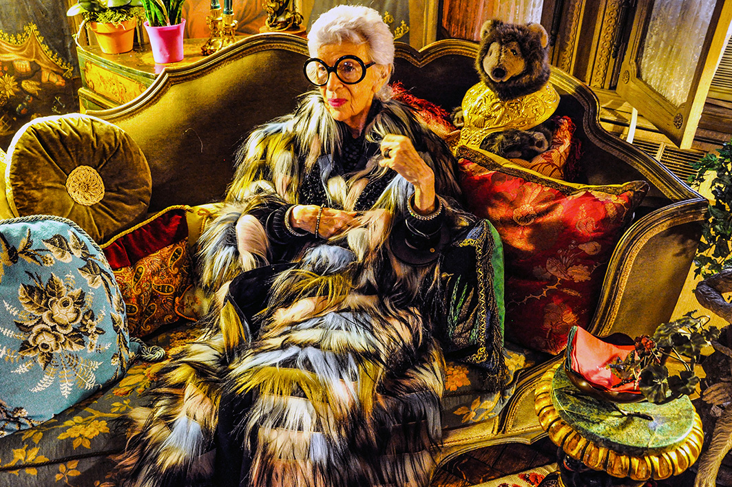 Iris Apfel at her Park Avenue, New York home