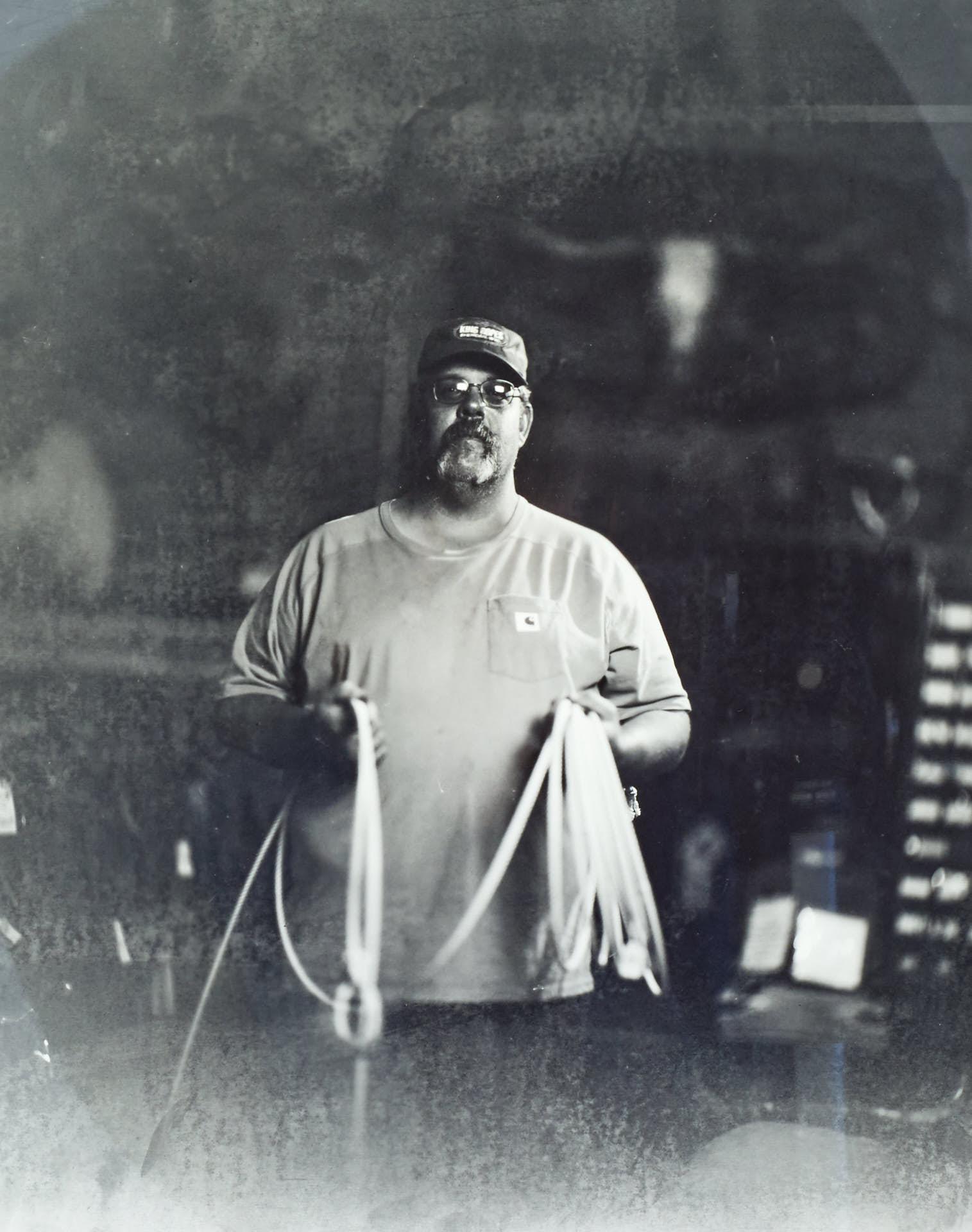 Roper maker Big Mike at King Ropes in Sheridan, Wyoming. Photo ©2015 Stephen Takacs Photography