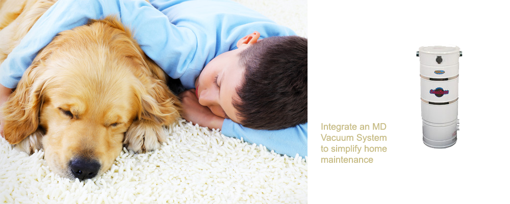 This is an image of a boy and his dog sleeping, and an MD central vacuum system.