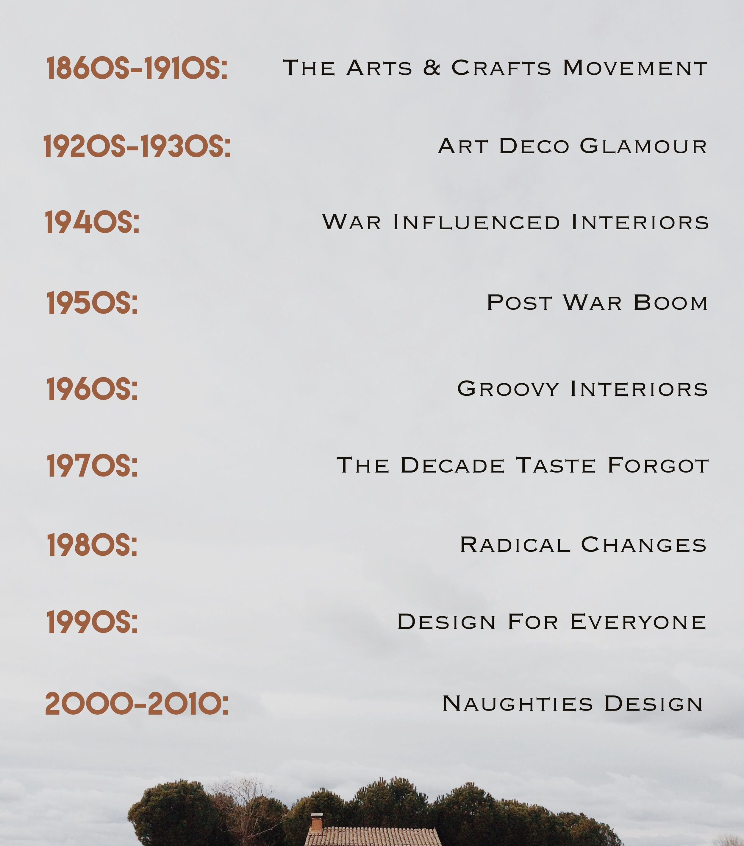 Design trends throughout the 20th century - an overview.